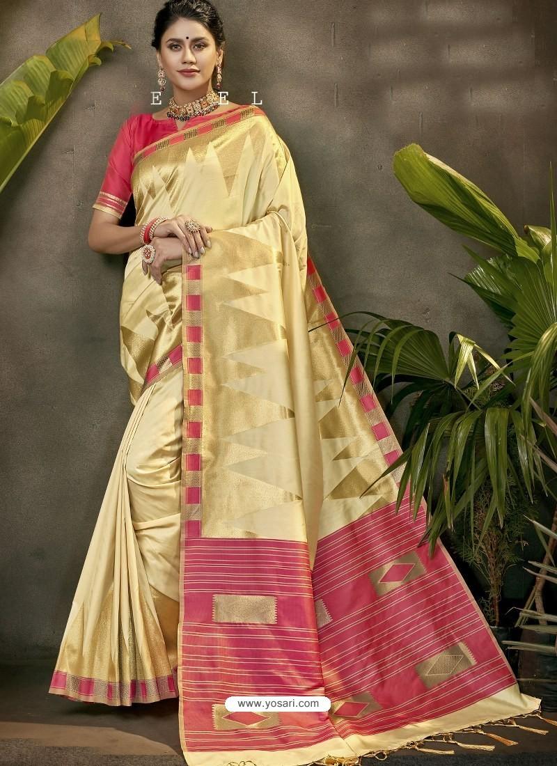 Fabulous Cream Party Wear Designer Phantom Silk Sari