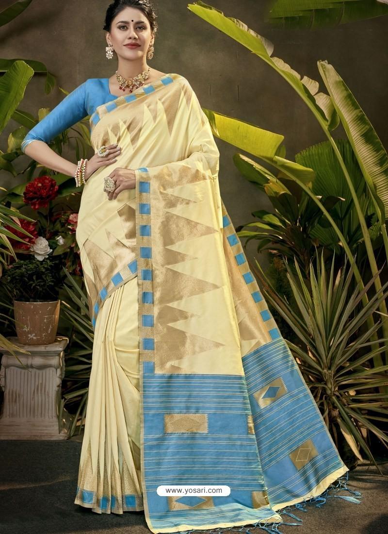 Classy Cream Party Wear Designer Phantom Silk Sari