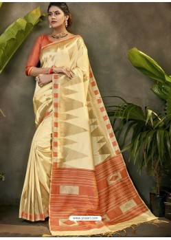 Cream Party Wear Designer Phantom Silk Sari