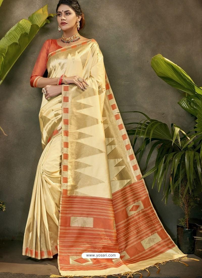 Cream Party Wear Designer Phantom Silk Sari