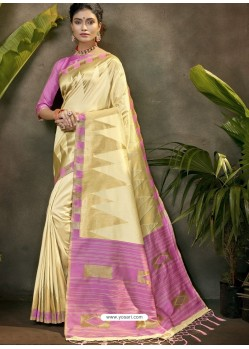 Stylish Cream Party Wear Designer Phantom Silk Sari