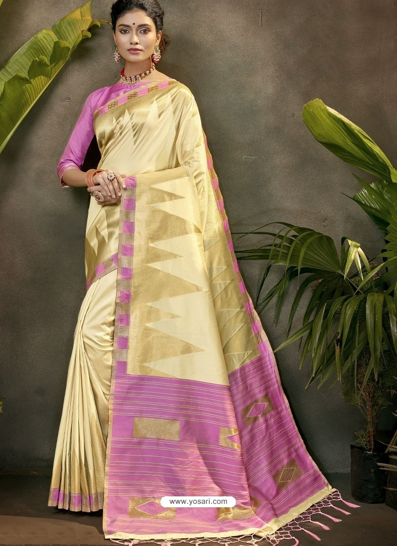 Stylish Cream Party Wear Designer Phantom Silk Sari