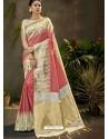 Peach Party Wear Designer Phantom Silk Sari