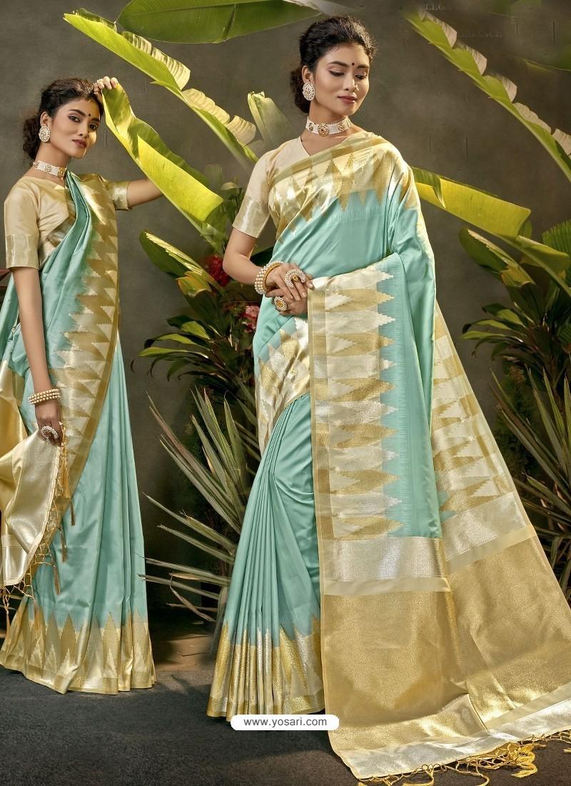 Aqua Grey Party Wear Designer Phantom Silk Sari