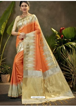 Orange Party Wear Designer Phantom Silk Sari