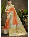 Orange Party Wear Designer Phantom Silk Sari