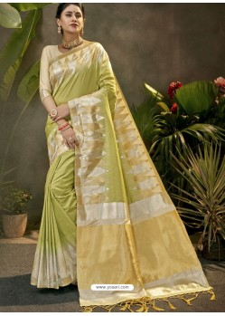 Green Party Wear Designer Phantom Silk Sari