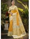 Yellow Party Wear Designer Phantom Silk Sari