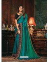 Turquoise Scintillating Party Wear Designer Silk Sari