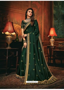 Dark Green Scintillating Party Wear Designer Silk Sari