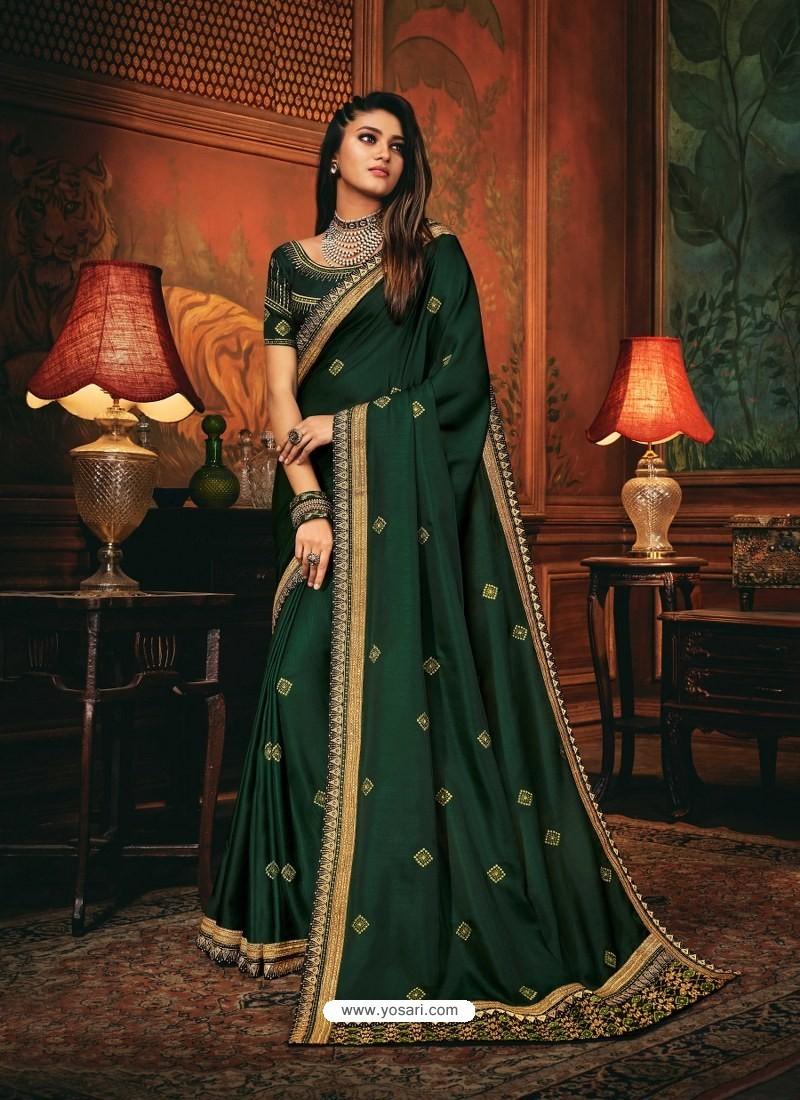 Dark Green Scintillating Party Wear Designer Silk Sari