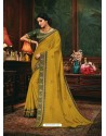 Mustard Scintillating Party Wear Designer Silk Sari
