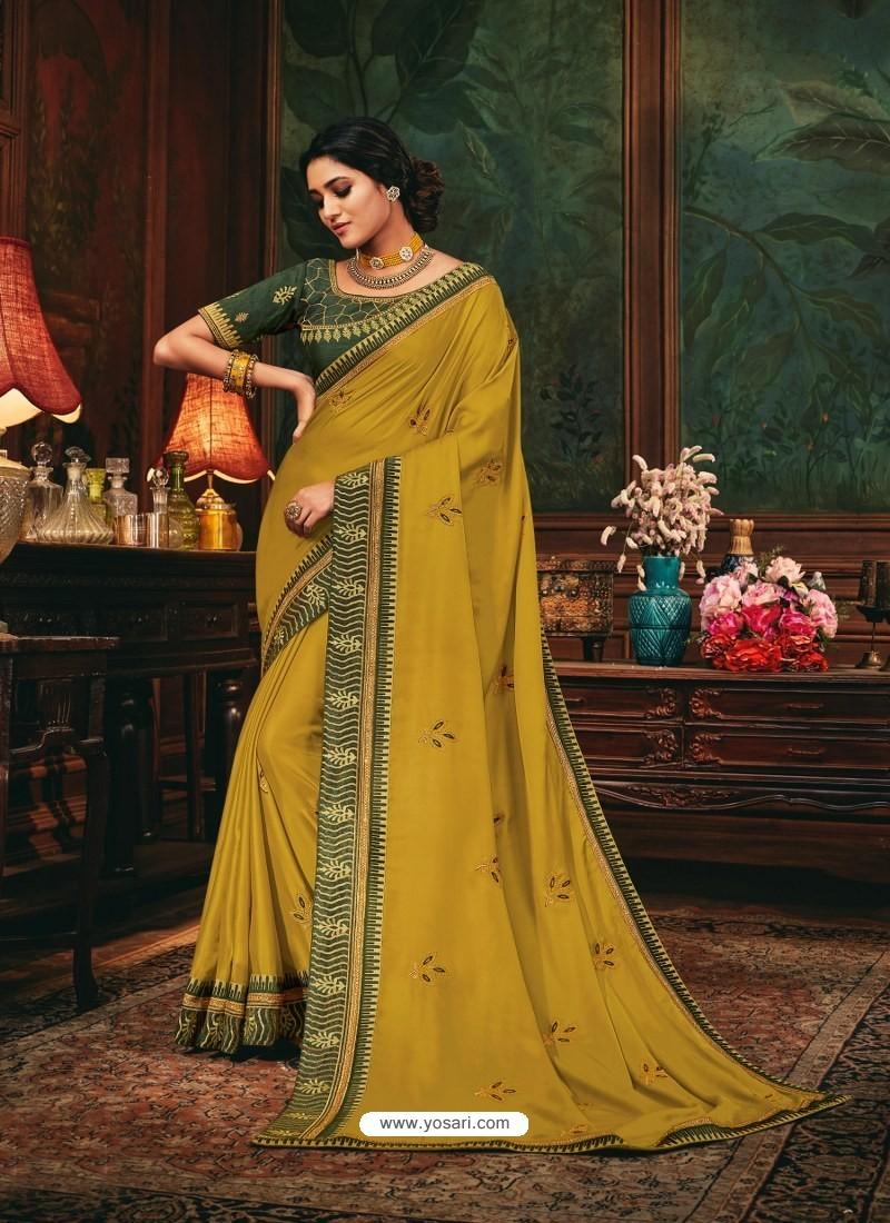 Mustard Scintillating Party Wear Designer Silk Sari
