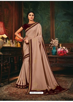 Light Beige Scintillating Party Wear Designer Silk Sari