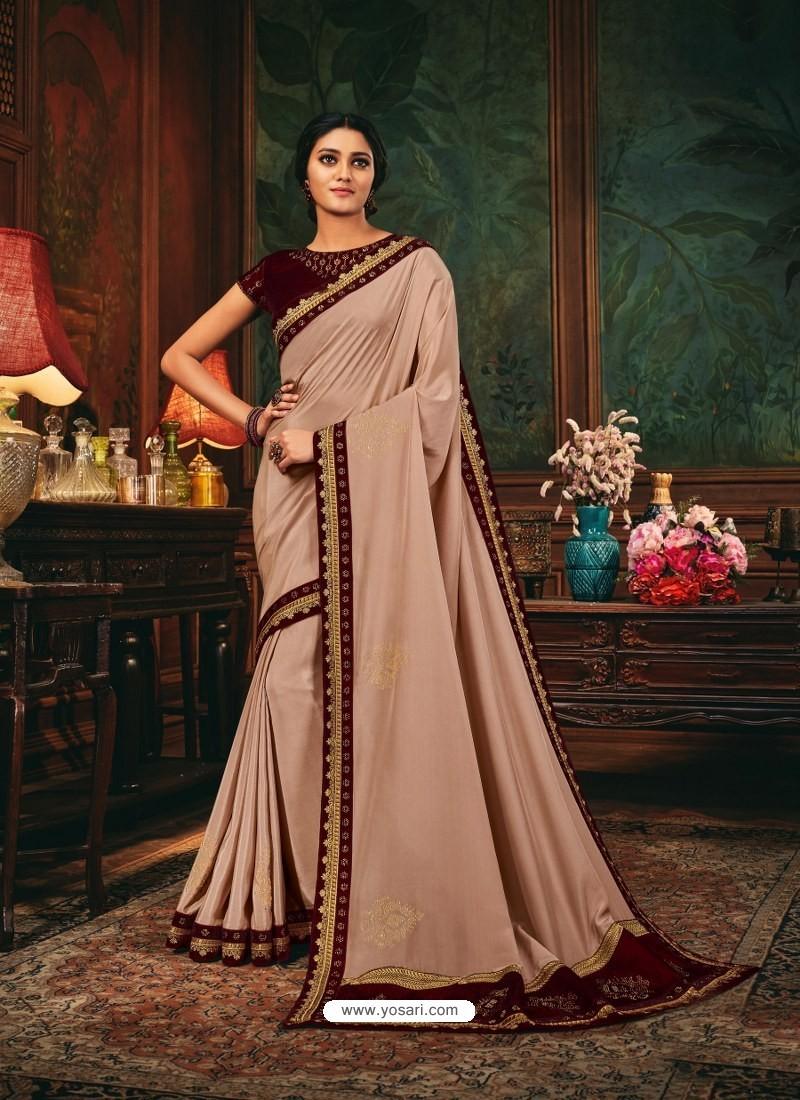 Light Beige Scintillating Party Wear Designer Silk Sari