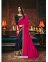 Navy Blue Scintillating Party Wear Designer Silk Sari