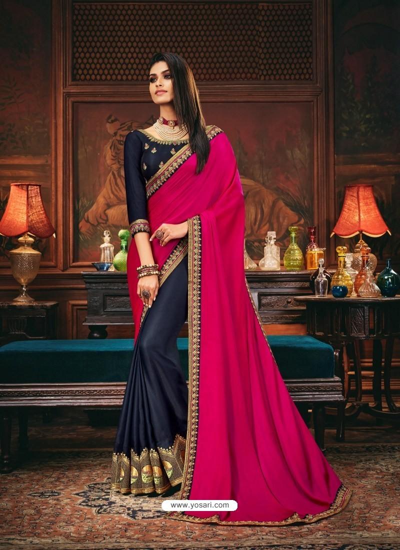 Navy Blue Scintillating Party Wear Designer Silk Sari