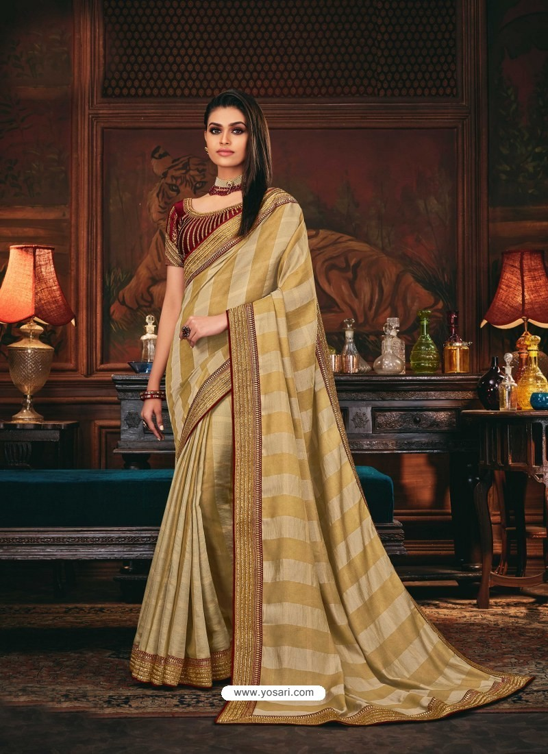 Beige Scintillating Party Wear Designer Silk Sari