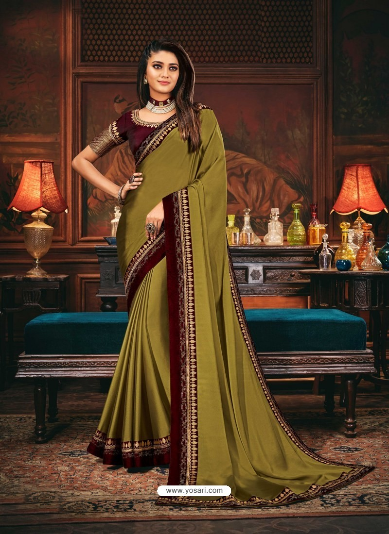 Mehendi Scintillating Party Wear Designer Silk Sari
