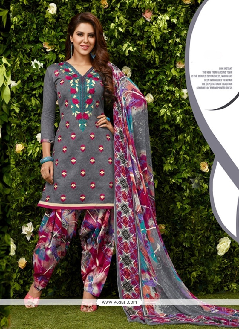 Aspiring Glessh Grey Embroidered Work Designer Patila Salwar Suit