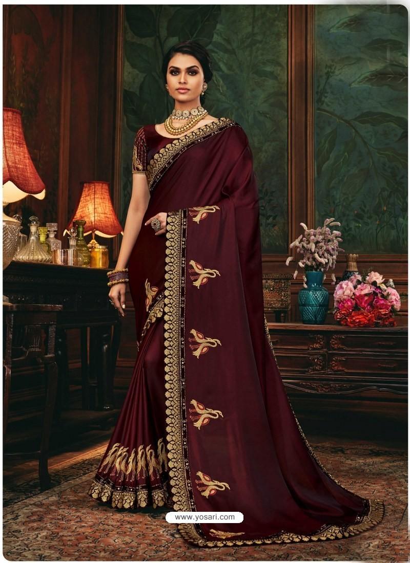 Maroon Scintillating Party Wear Designer Silk Sari