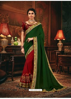 Red Scintillating Party Wear Designer Silk Sari