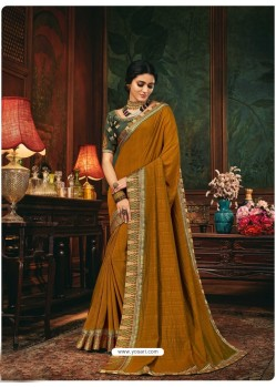 Marigold Scintillating Party Wear Designer Silk Sari