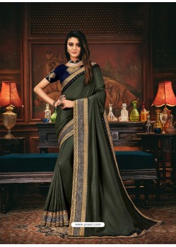 Mehendi Scintillating Party Wear Designer Silk Sari