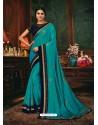 Turquoise Scintillating Party Wear Designer Silk Sari