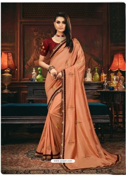 Light Orange Scintillating Party Wear Designer Silk Sari
