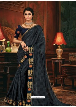 Dark Grey Scintillating Party Wear Designer Silk Sari