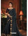 Dark Grey Scintillating Party Wear Designer Silk Sari