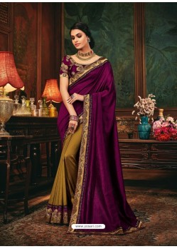 Purple Scintillating Party Wear Designer Silk Sari