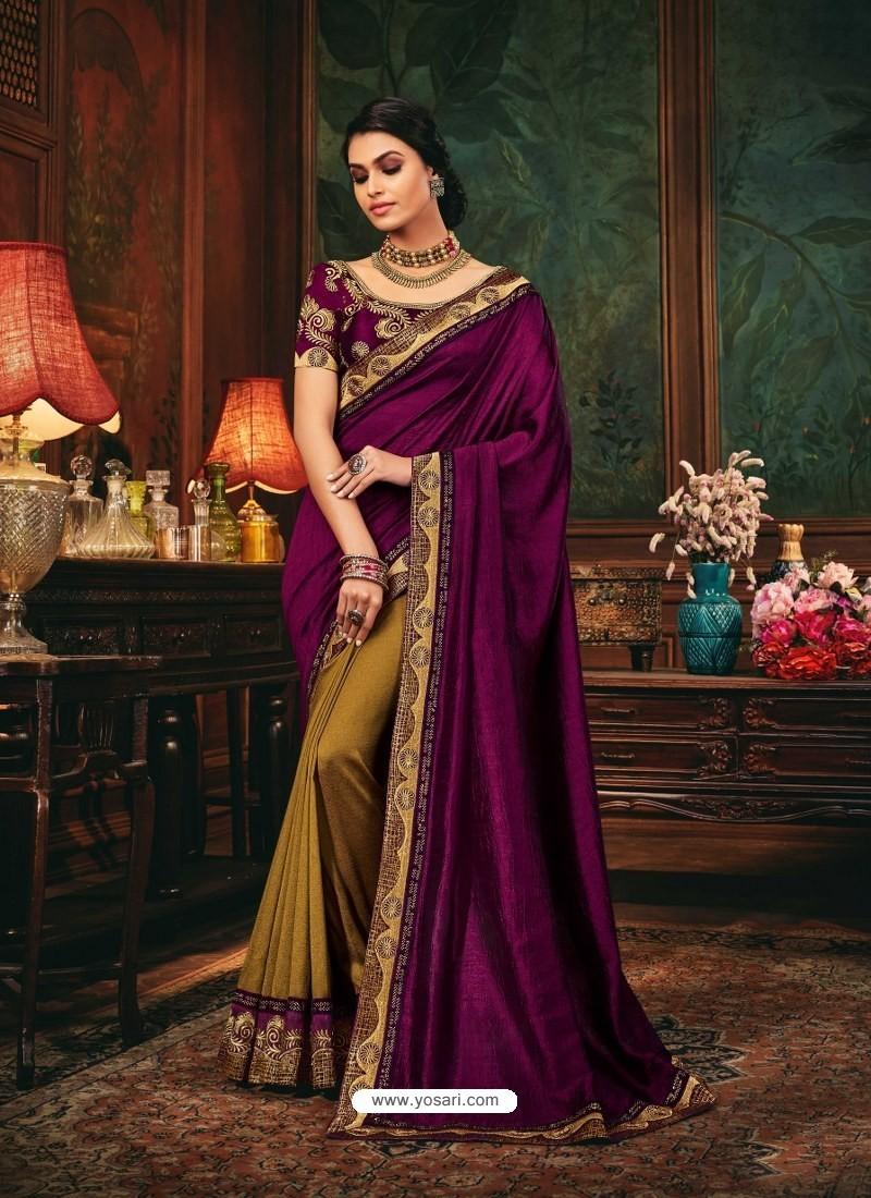 Purple Scintillating Party Wear Designer Silk Sari