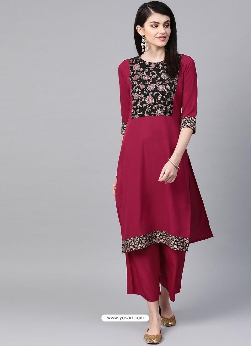 Rose Red Designer Readymade Party Wear Kurti