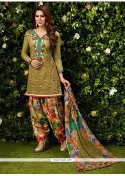 Impressive Embroidered Work Green Designer Patila Salwar Suit