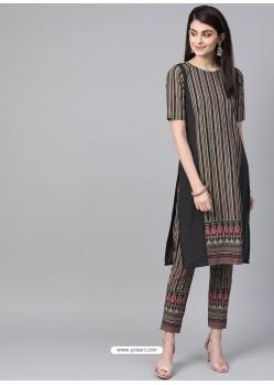 Dark Grey Designer Readymade Party Wear Kurti