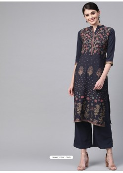 Navy Blue Designer Readymade Party Wear Kurti
