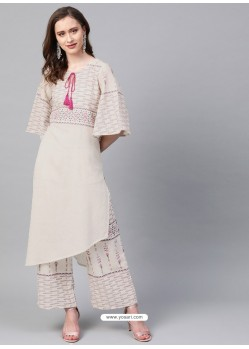 Off White Designer Readymade Party Wear Kurti