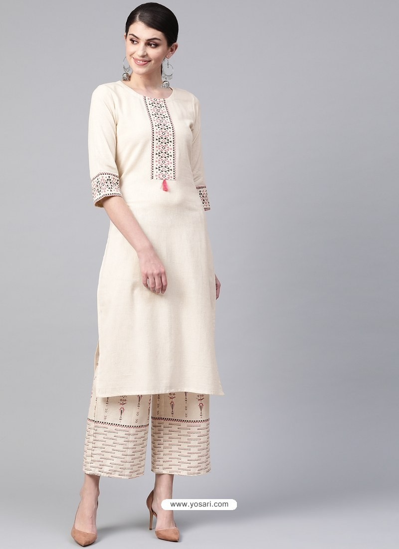Off White Designer Readymade Party Wear Kurti