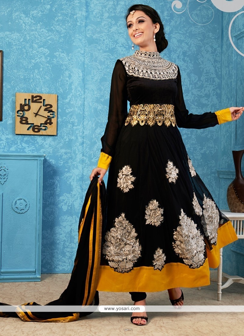 Captivating Black Zari Anarkali Salwar Suit