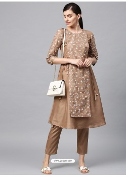 Beige Designer Readymade Party Wear Kurti