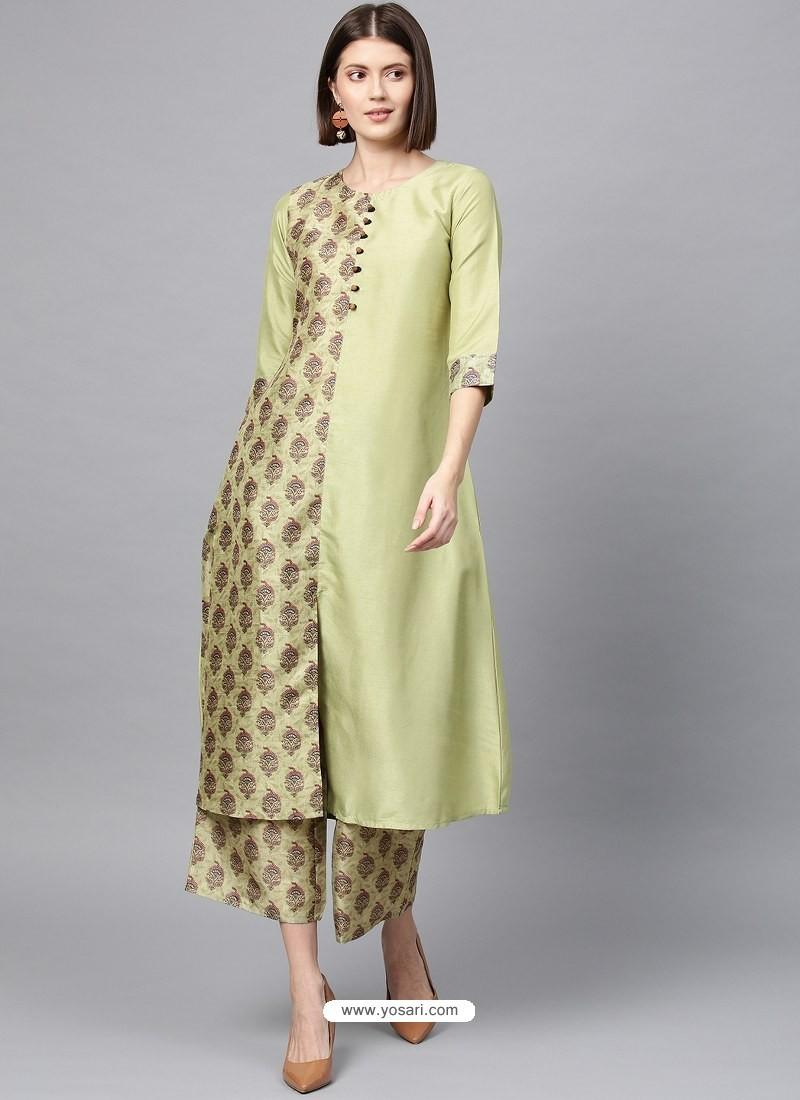 Pista Green Designer Readymade Party Wear Kurti