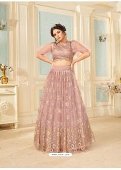 Dusty Pink Soft Net Designer Wedding Wear Lehenga Choli