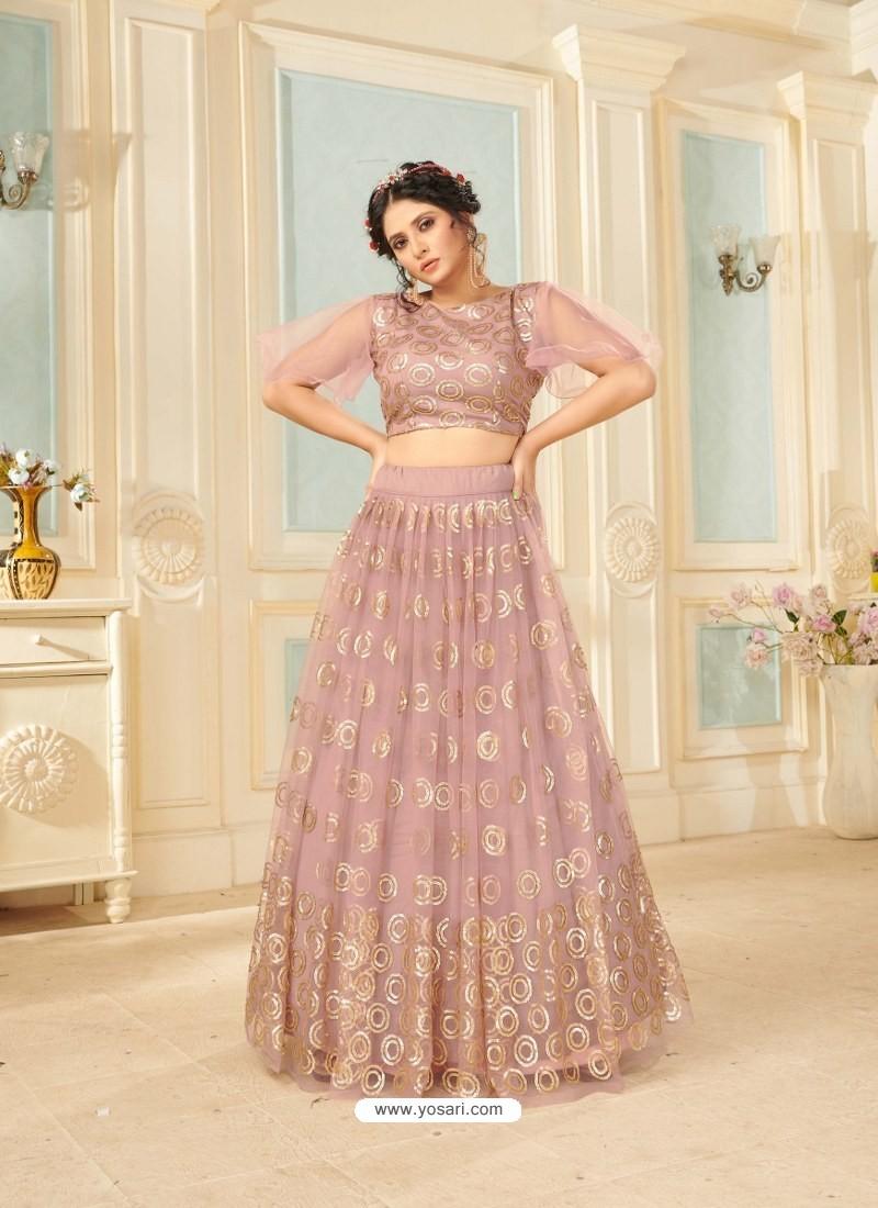 Dusty Pink Soft Net Designer Wedding Wear Lehenga Choli