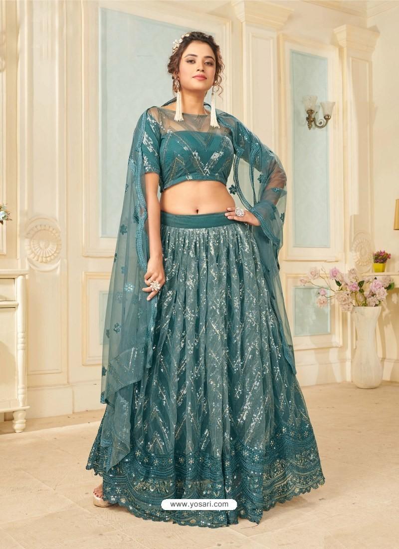 Teal Blue Soft Net Designer Wedding Wear Lehenga Choli