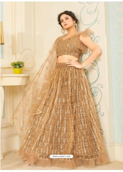 Beige Soft Net Designer Wedding Wear Lehenga Choli