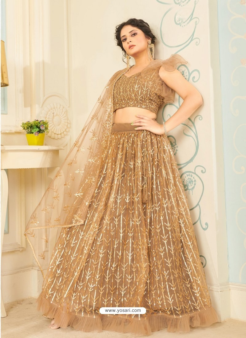 Beige Soft Net Designer Wedding Wear Lehenga Choli
