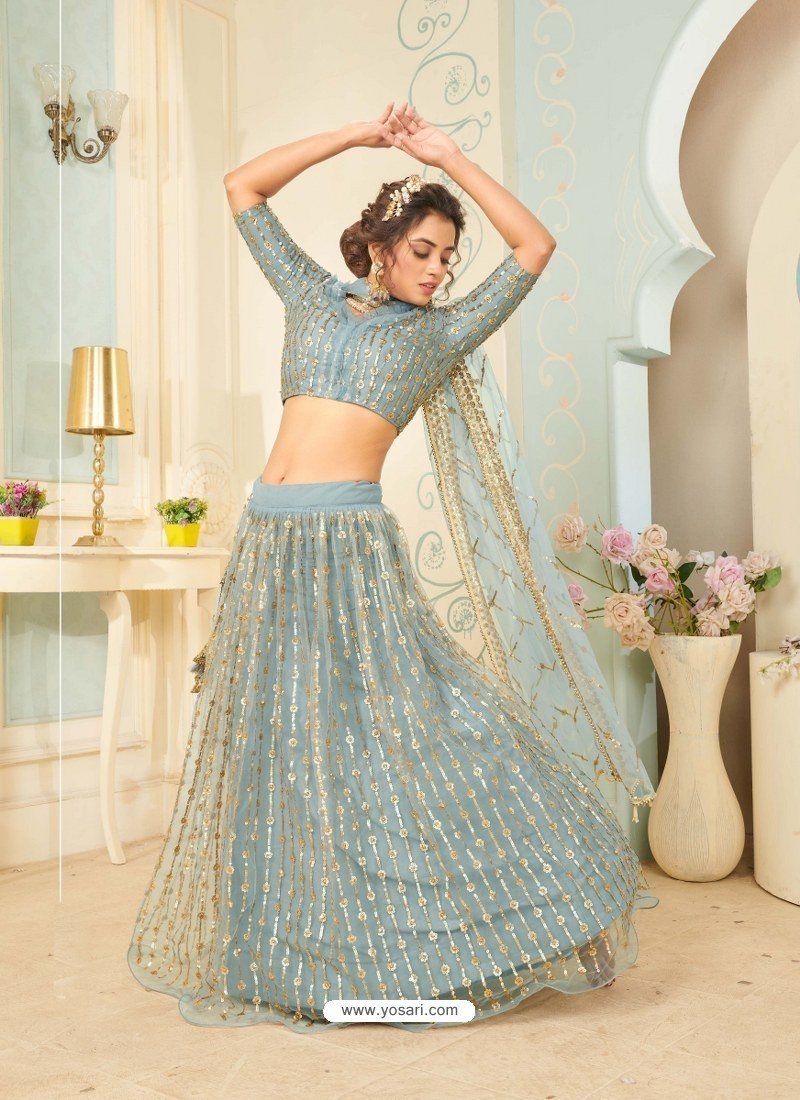 Aqua Grey Soft Net Designer Wedding Wear Lehenga Choli