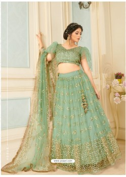 Sea Green Soft Net Designer Wedding Wear Lehenga Choli